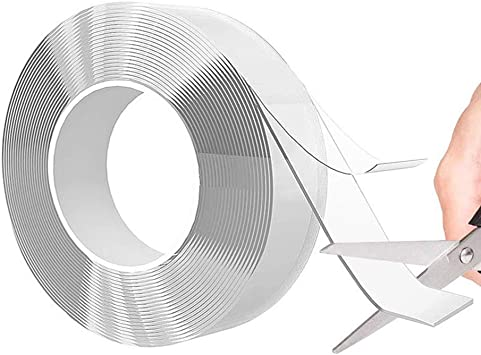 Reusable Traceless Washable Adhesive Tape 9.84 ft Clear Transparent Removable Gel Pads Nano Tape Gel Mat Tape 2mm Thick Double Sided Tape Adhesive Silicone Tape Mounting Tape Long
