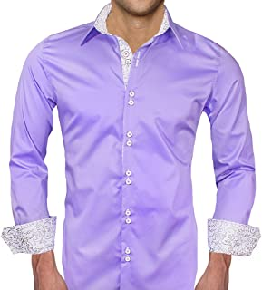 product image for Light Purple with White Metallic Designer Dress Shirt - Made in USA
