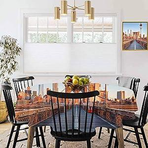 "67"" Round Tablecloths,Machine Washable Tablecloth,City,New York Skyline Closeup Brooklyn Bridge in Manhattan Over Hudson River,Orange Pale Blue Grey"