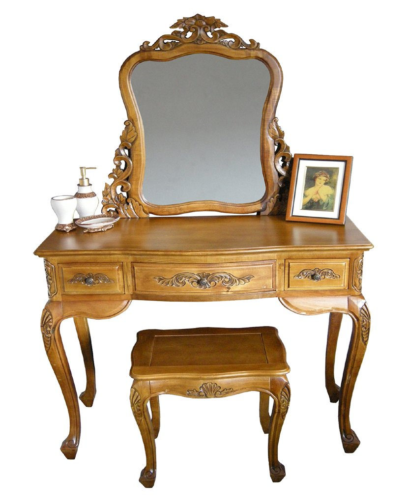 French Furniture, SOLID WOOD Handcarved French Dressing Table Set With  Mirror U0026 Stool, Shabby Chic Furniture Oak Finish: Amazon.co.uk: Kitchen U0026  Home