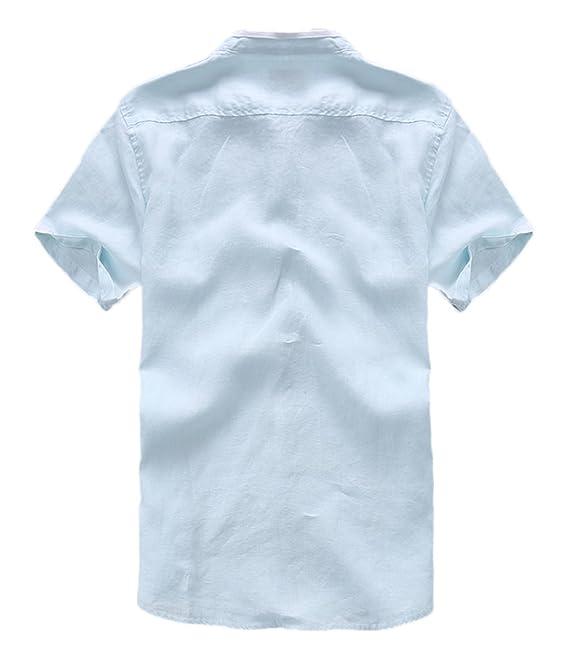 Insun Herren Männer Lässig Kurzarm Leinen Hemden Beach Shirts Brusttasche:  Amazon.de: Bekleidung