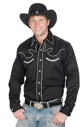 1d4bd63f Sunrise Outlet Men's 100% Cotton Retro Western Cowboy Shirt-Black ...