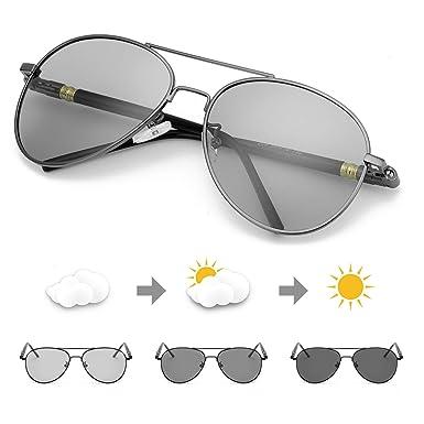 TJUTR Polarizadas Gafas de Sol Fotocromaticas Hombre, Aviador Metal Marco Antideslumbrante -100% Protección UVA UVB
