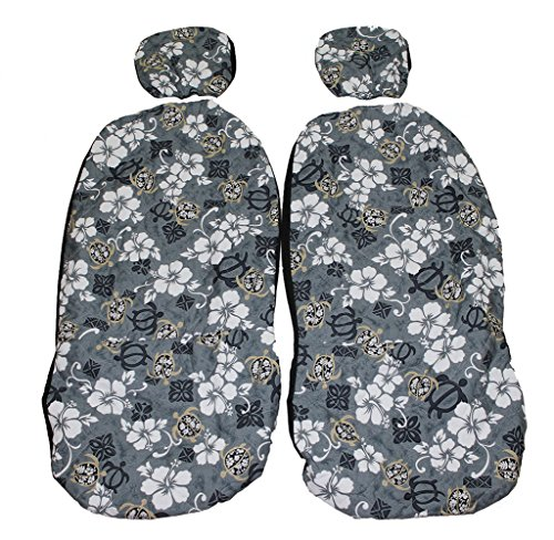 Hawaiian car seat cover with Separated Headrest, Gray Hawaiian, Set of 2 Front Bucket Seat Covers, Made in Hawaii