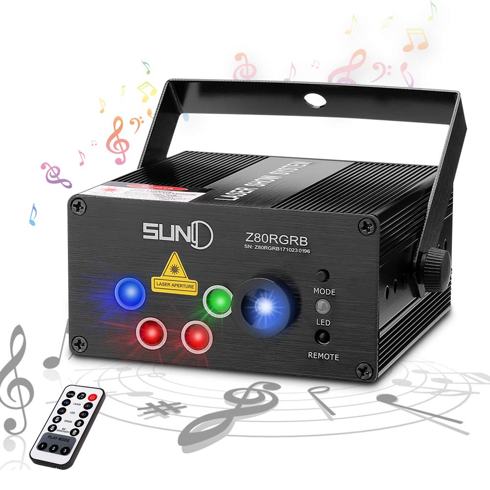 SUNY Laser Lights Music Show DJ 80 Combinations Laser Gobos Projector Indoor 5 Lens 3 Color RGB Decoration Light Blue LED Remote Control Stage Lighting Red Green Blue Sound Activated Party House Xmas Z80RGRB