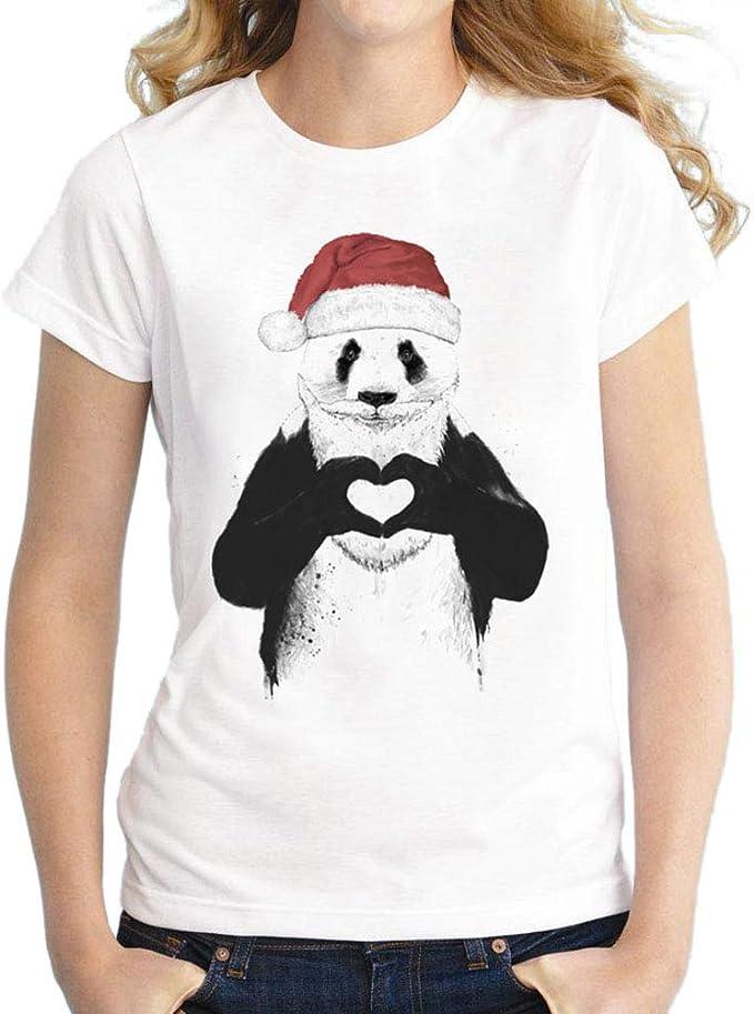 YUFAA Camiseta de Blusa para Mujer Camiseta Familiar de Panda ...