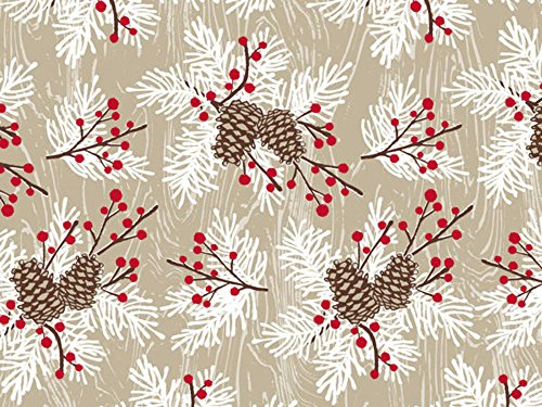 Woodland Berries Pine Sprigs Kraft Holiday Wrapping Paper -
