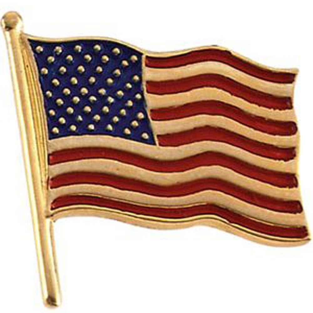 17.50x17.00 mm Color American Flag Lapel Pin in 14K Yellow Gold