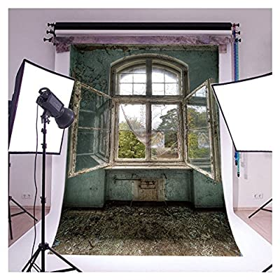 FUT 3-5 Business Days FAST Delivery, 3D Big Dirty Window with Spider Web Vinyl Backdrop Background Ideal for Studio Photography 5x7ft