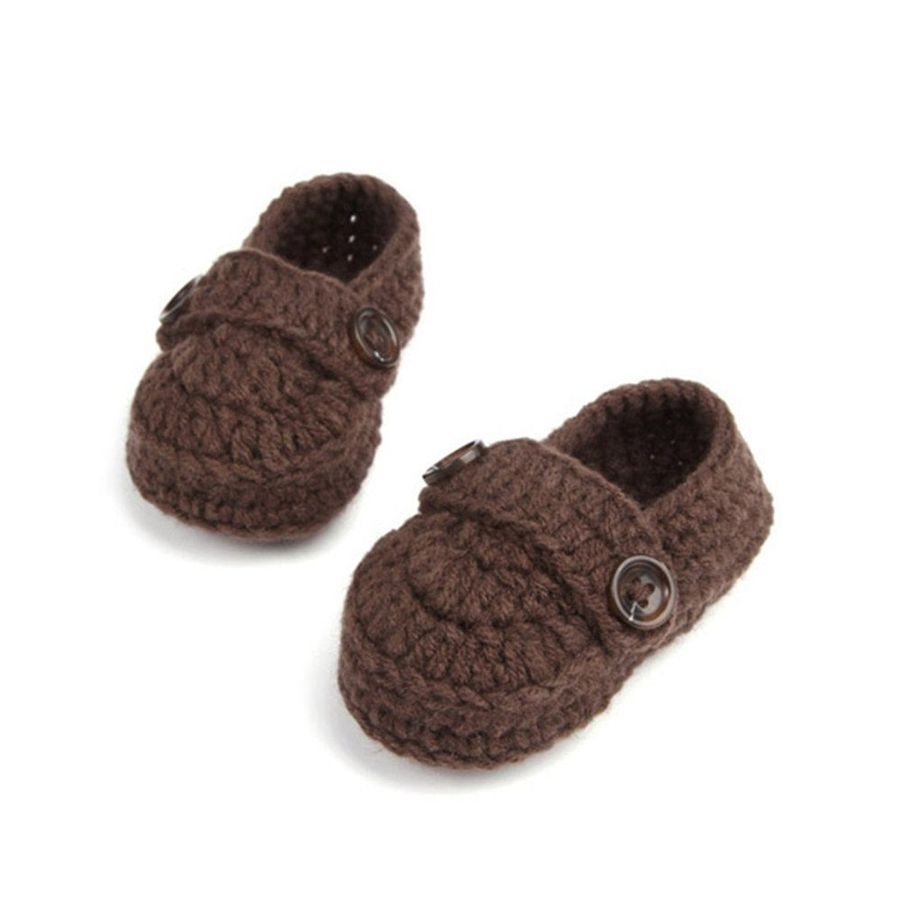 Buckle Baby Boy Shoes Handmade Knitting Crochet Booties Baby Crochet Shoes Brown 1