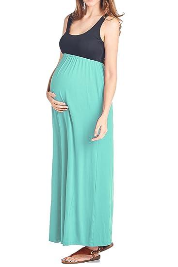 Amazon Beachcoco Womens Maternity Contrast Maxi Tank Dress S