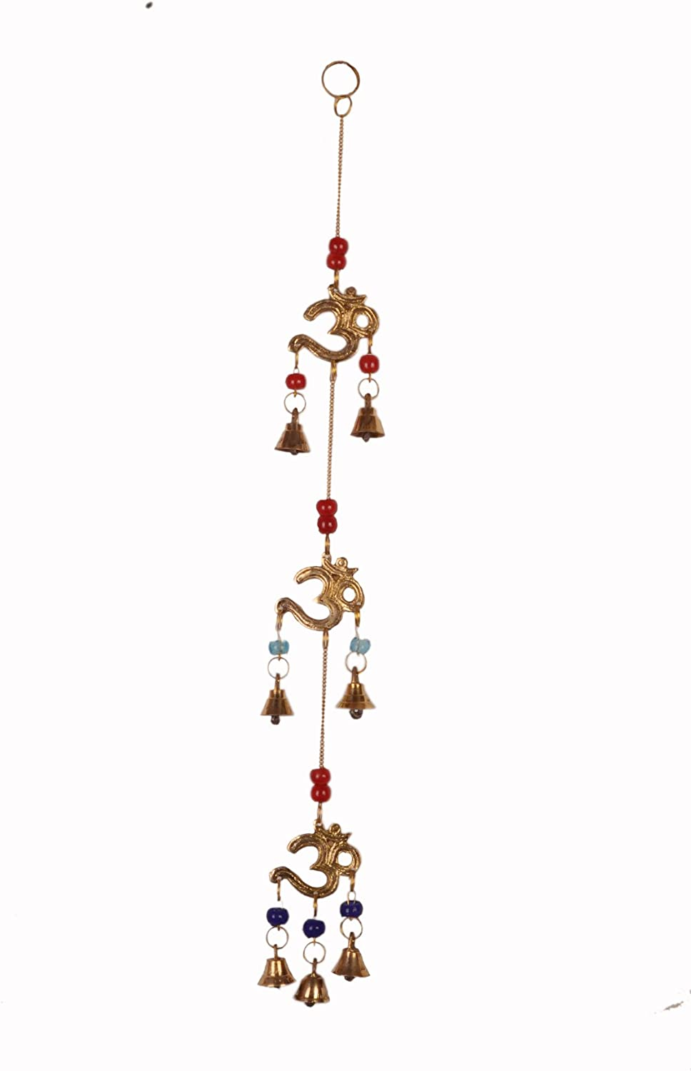 Purpledip Wind Chime with Om & Bells: Unique Wall Décor for Good Luck & Positive Energy (11080)