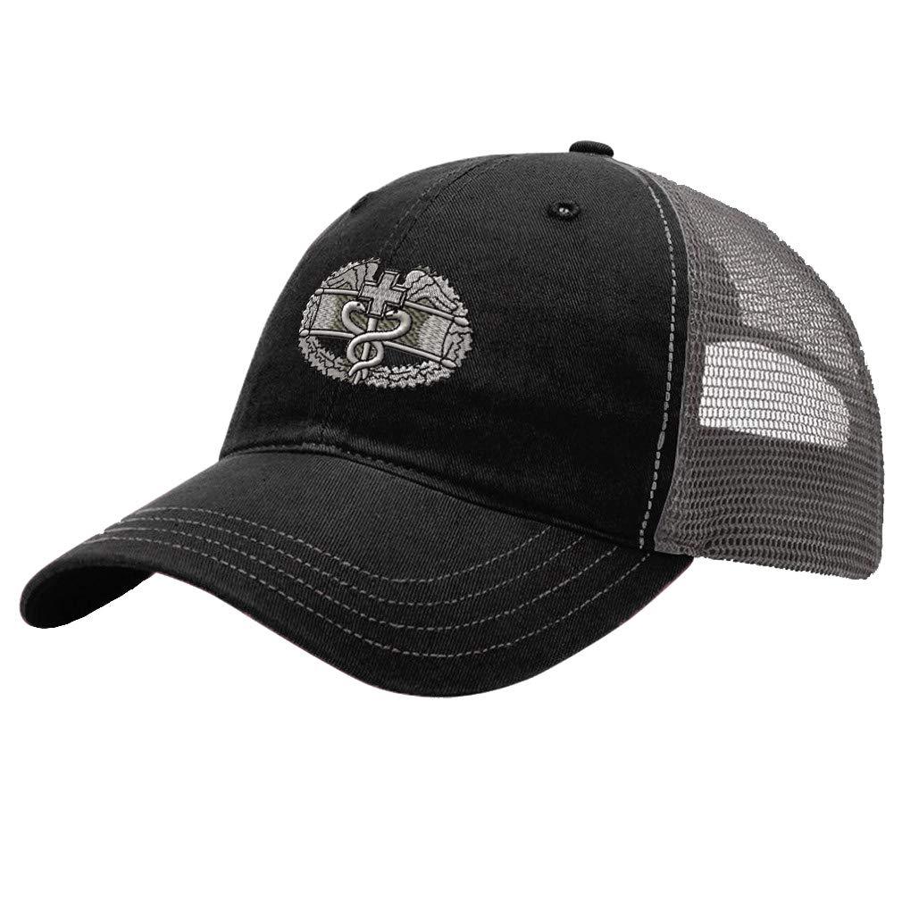 Custom Trucker Hat Richardson Combat Medic Badge Embroidery Veteran Name Cotton