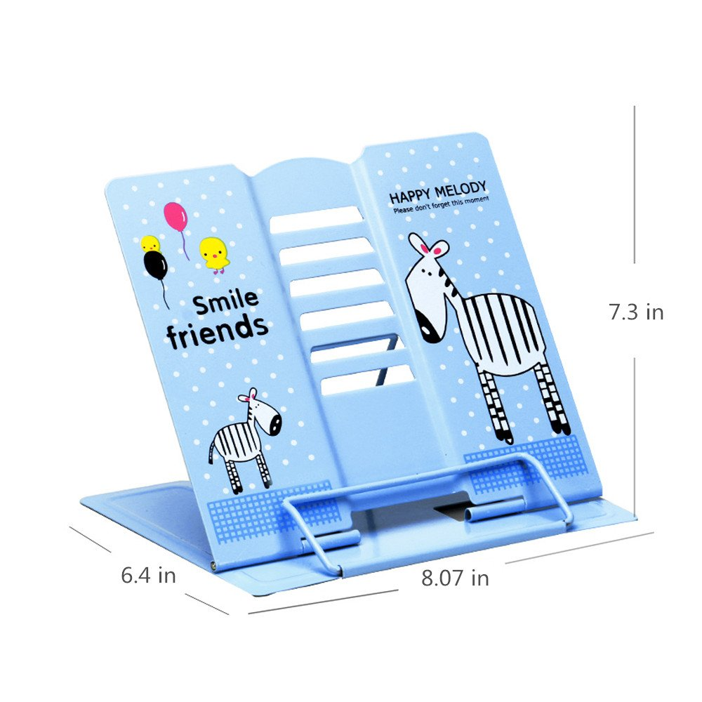 Reading Bookstand Book Holder, Kicpot Adjustable and Portable Reading Book Stand Document Holder (Iron Blue) by Kicpot (Image #7)