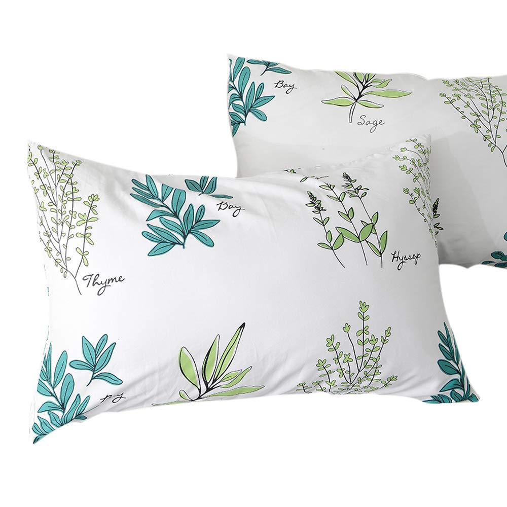 FenDie Pillow Cases Set of 2 - Plant Branches Pattern Standard Size (20''x 26'') Pillow Protectors Cotton White Pillow Covers Decorative, Envelope Closure End