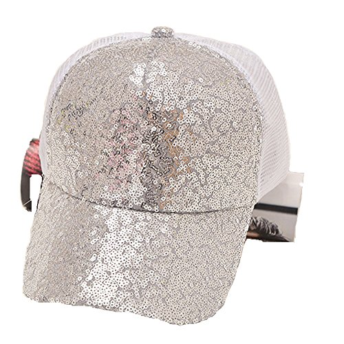 - Women Ponytail Baseball Cap, Messy Mesh Trucker Plain Baseball Visor Cap High Sparkle Glitter Adjustable Baseball Cap Hat (Sliver)