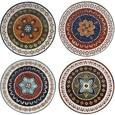 Monterrey Multicolored Ceramic 8.75-inch Dessert Plate (Set of 4 Assorted Designs)
