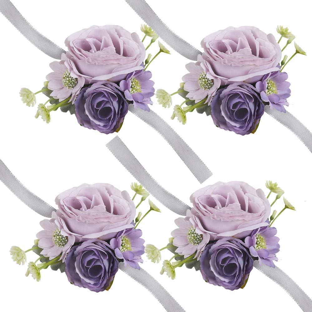 HiiARug Wrist Corsage for Wedding, Set of 4 Wrist Corsage Purple