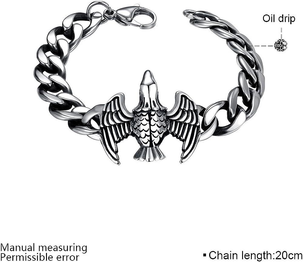 Ilove UE Bracelet en acier inoxydable poignet Lien Argent Aigle Cha/îne Cha/îne Moto de Biker Homme