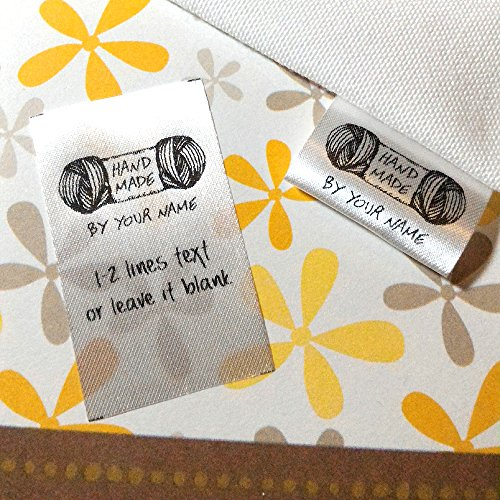 100 pcs Handmade yarn design Custom text logo personalized Sewing hanging satin ribbon clothing labels folding name tag washable wash care handmade label ()
