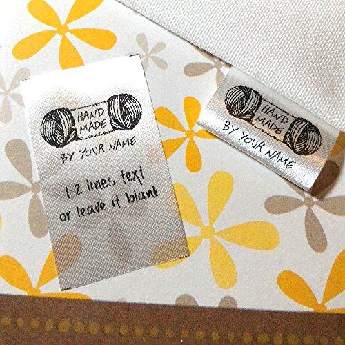(100 pcs Handmade yarn design Custom text logo personalized Sewing hanging satin ribbon clothing labels folding name tag washable wash care handmade label)