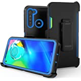 Moto G8 Power Case,Heavy Duty Hard Shockproof Protector Shield Case Cover with Belt Clip and Kickstand for Motorola Moto G8 P