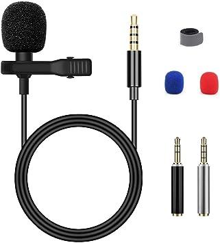 Micrófono Blusmart, de condensador omnidireccional, para smartphones y portátiles, con clip de solapa: Amazon.es: Instrumentos musicales