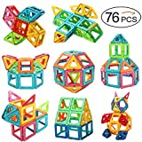 OkidSTEM 76 Piece Magnetic Building Blocks for Kids, Magnet Tiles Educational Toys for Boys and Girls