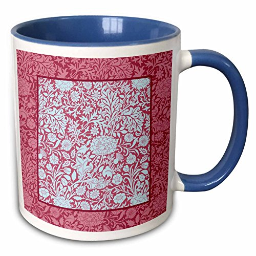 (3dRose Russ Billington Patterns - William Morris Cherwell Chintz Panel in Pale Blue over Red - 15oz Two-Tone Blue Mug (mug_220214_11))