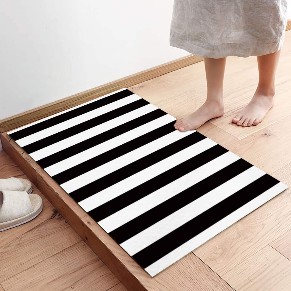 FAMILYDECOR Black and White Stripes Fabric Door Mat Rug Indoor/Outdoor/Front Door/Shower Bathroom Doormat, Non-Slip Doormats, 19x31 Inch