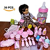 "Doll Feeding Set & Bath Doll Accessories - 30 Pc. - Baby Doll Bottles, Doll Food Bowls & Utensils, Doll Hair Brush, Diaper, Doll Pacifiers - 18"" American Girl Dolls, Stunning Baby Bottle Gift Package"