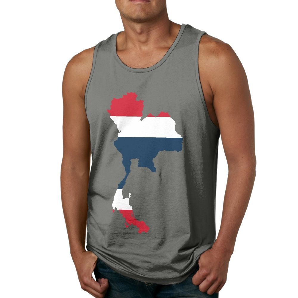 CJOQWPMD Mens Tank Top Thailand Country with Thai Flag Exercise Tank 100/% Cotton Bodybuilding Vest