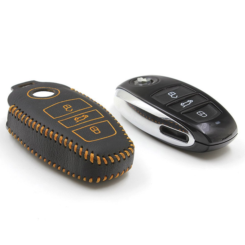 Remote Car Key Cover for VW Touareg 2011 2012 2013 2014 Car Key Case Leather Holder for Volkswagen Key UYI