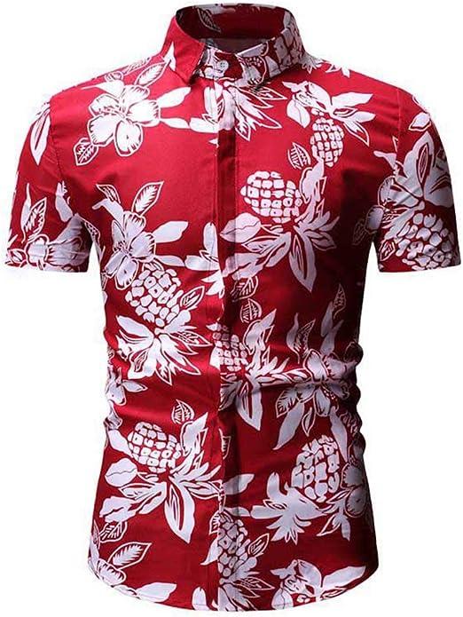 Trenton Camisas para Hombre, Estampado de piña, Cuello abatible, Manga Corta Hawaiana para Verano: Amazon.es: Jardín