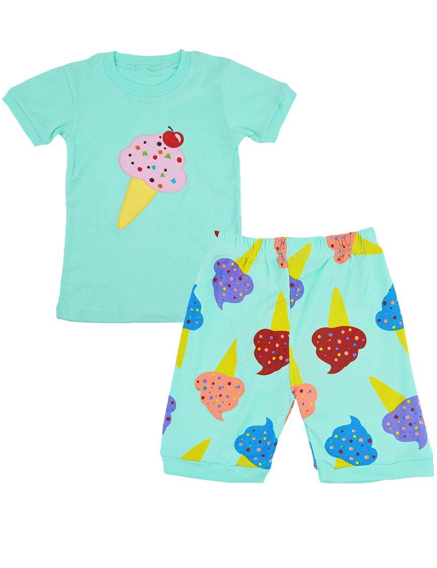 LitBud Girls Pyjamas Sets Shorts Sleeve 100% Cotton Ice Cream Nightwear Sleepwear Outfits 2 Piece for Kids Toddler UK 1-7 Years