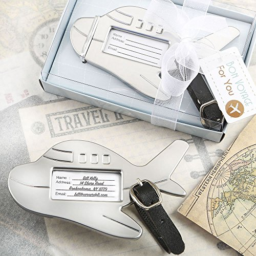 48 Adorable Silver Metal Airplane Luggage Tags by Fashioncraft
