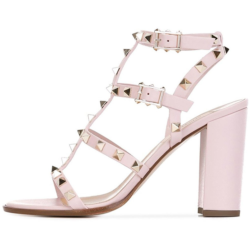 Pink 9cm Comfity Sandals for Women,Rivets Studded Strappy Block Heels Slingback Gladiator shoes Cut Out Dress Sandals