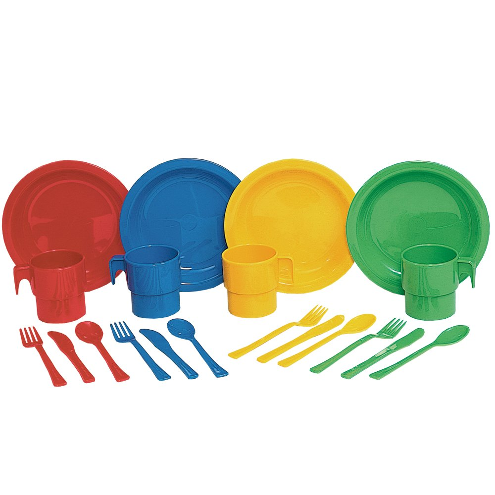 Constructive Playthings 20 pc. Indestructible Play Dishes Service for 4 Includes Place Settings of Cups, 6 1/2