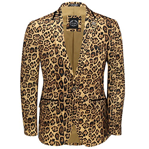 - XPOSED Mens Leopard Rosette Deep Gold Printed Italian Designer Suit Jacket Fitted Blazer