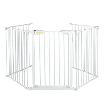 Amazon Com Bonnlo 121 Inch Wide Metal Baby Gate Fence Play Yard