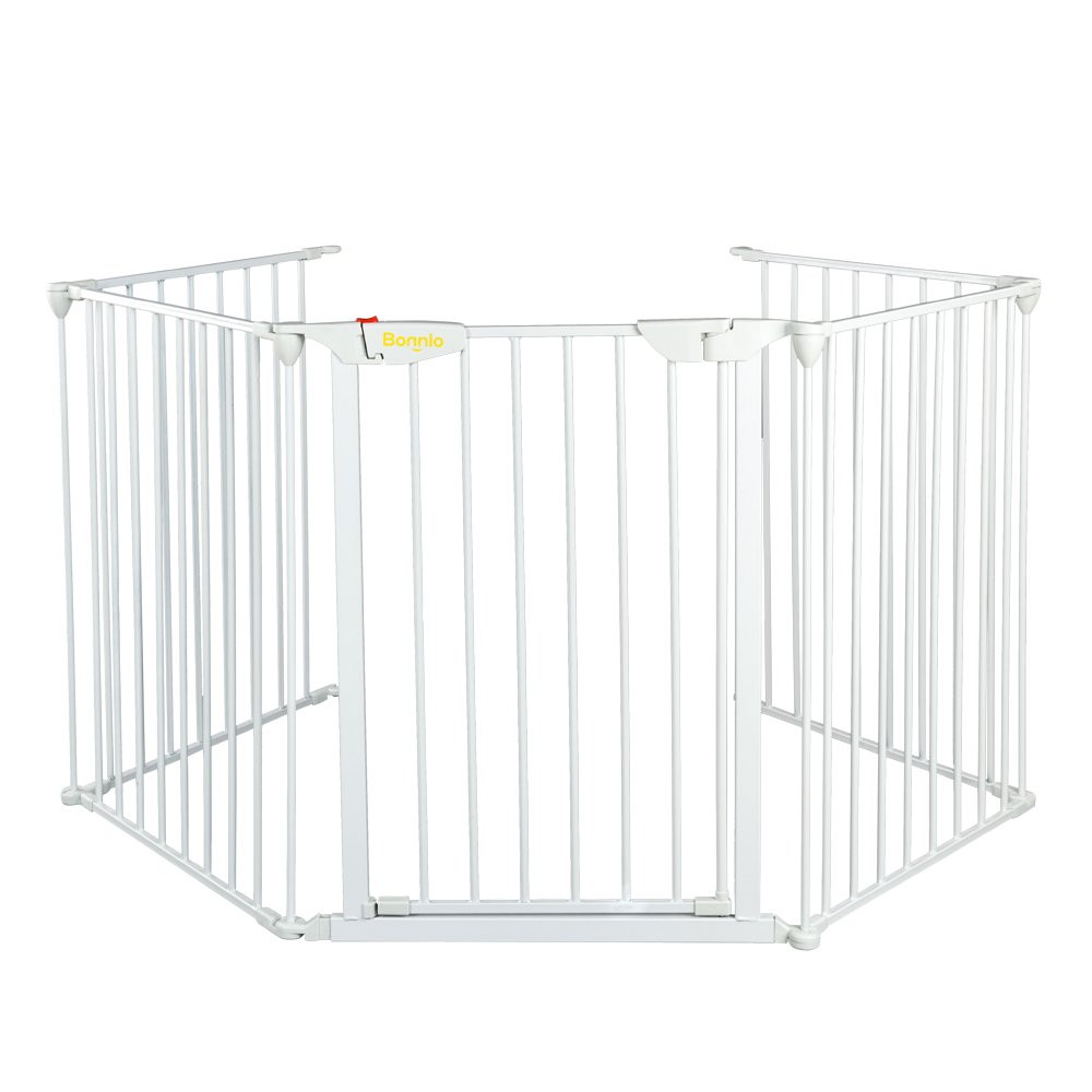 Bonnlo 121-Inch Wide Metal Baby Safety Fence/Play Yard Adjustable Fireplace Hearth BBQ Fire Gate Christmas Tree Gate 5-Panel Playpen for Toddler/Pet/Puppy/Cat/Dog, White