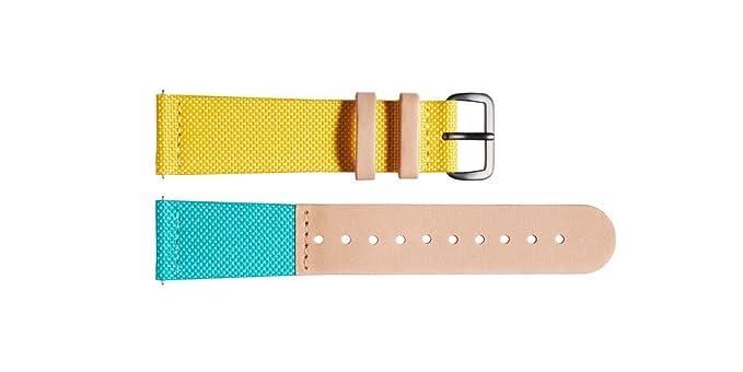 Meller Bimeadow Strap - Correa de reloj de cuero / nylon unisex - Hebilla de plata: Amazon.es: Relojes
