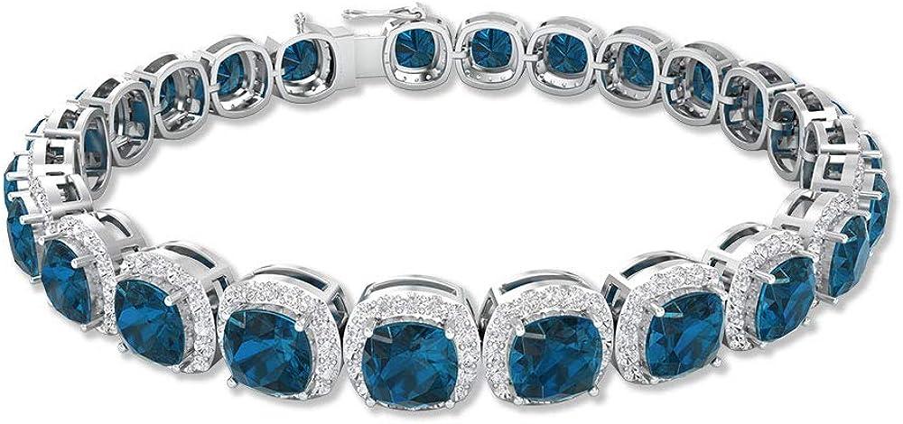 Pulsera de topacio azul de Londres de 12 quilates con corte cojín, pulsera de oro con halo de moissanita de 2,4 quilates, pulsera con certificación SGL, pulsera para mujer, 18K Oro
