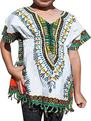 RaanPahMuang Childrens African Dashiki Cotton V-Neck Collar Tassel White Shirt