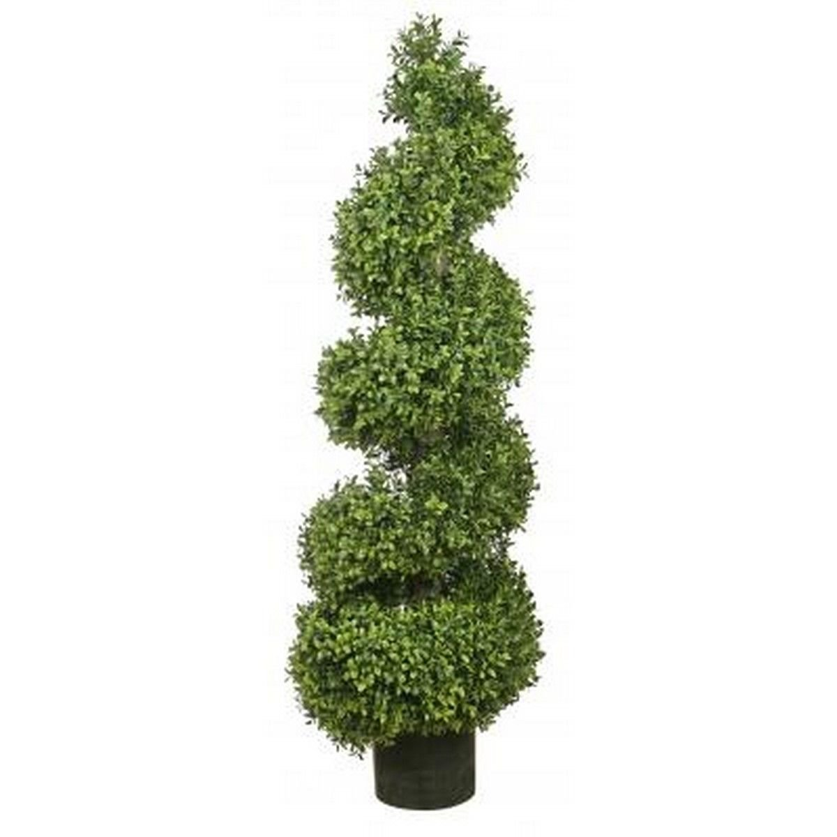 One 56 Inch Outdoor Artificial Boxwood Spiral Topiary Tree Potted Uv Rated Plant by Silk Tree Warehouse