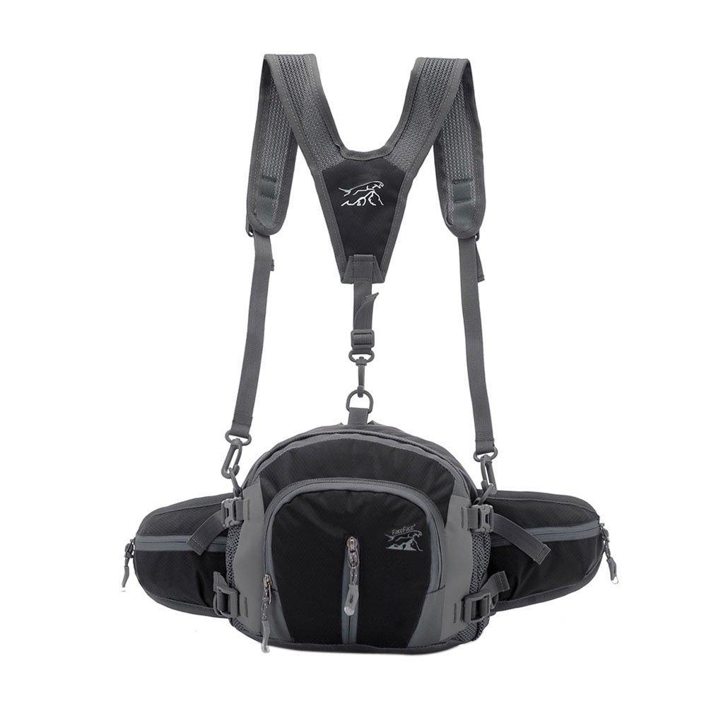 耐水性ウエストパックバッグユニセックスアウトドアスポーツジムFanny PackベルトバッグBum Bagバックパックリュックサックショルダーバッグforハイキングキャンプサイクリング水ボトルホルダー  ブラック B074SGN9GP