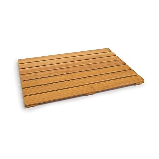 relaxdays sortie de douche en bois de bambou salle de bain dessous ... - Caillebotis Salle De Bain Teck