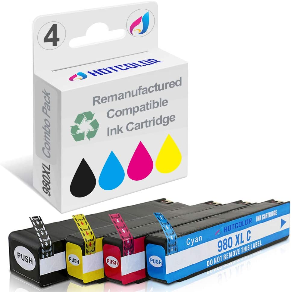 HOTCOLOR 4 Pack 980XL Black Cyan Magenta Yellow Ink Cartridge High Yield High Capacity for HP 980 XL Officejet Enterprise X585z X585dn X585f X555dn X555xh Printer