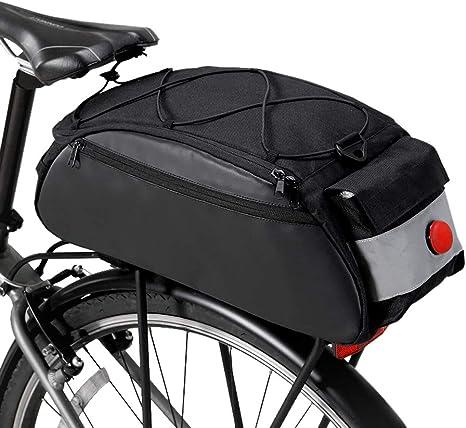 Lixada Bolsa Trasera para Bicicleta Multifuncional con Luz Trasera ...