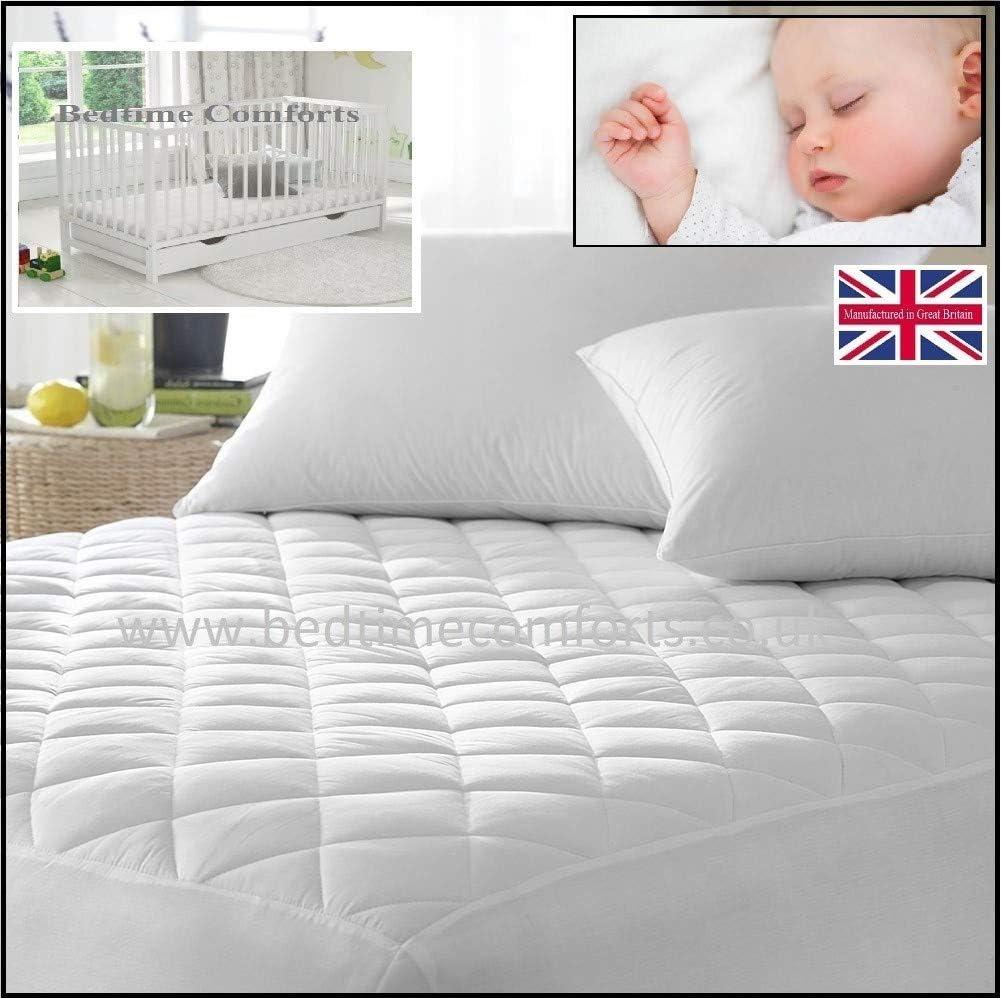 Bedtime Comforts Ltd - Protector de colchón Acolchado para Cuna (160 x 80 cm), Varios tamaños